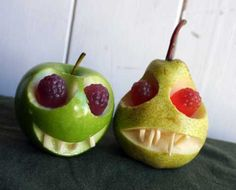 Creepy Halloween fruit. Take an apple or pear, slice out a wedge for the mouth and use a melon-baller to make two eye sockets, (brush with lemon juice to stop the fruit going brown) poke in some slivered almonds for teeth and plonk in a couple of red raspberry eyes. All done, and halfway healthy too.