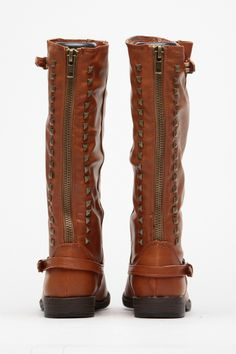 Bamboo Chestnut Faux Leather Studded Riding Boots