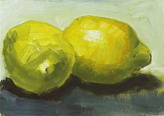 Lemon Painting Original Small Oil Still Life Fruit Canvas Board 5x7 inches. $75.00, via Etsy.