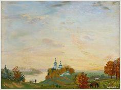 Кустодиев Борис Михайлович (Россия, 1878-1927) «Осень. Над рекой»