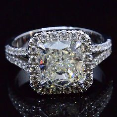 4.25 Ct. Cushion Cut Halo Pave Diamond Engagement Ring - Recently Sold Engagement Rings