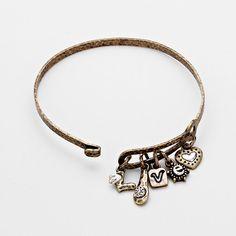 Vintage Love Charm Hook Bangle Bracelet - Gold $3.00