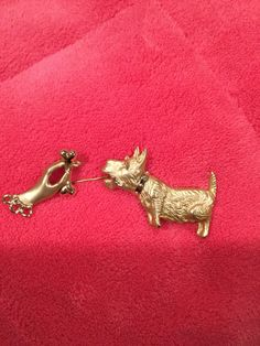 Vintage Dog and Hand Dog Bone Gold Tone Stick Pin Unmarked Costume Jewelry