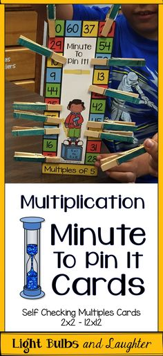 Minute To Pin It Cards - multiples practice that is self checking! Reinforce multiplication facts your students have learned. My students LOVE these. TpT$