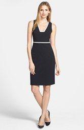 Anne Klein Contrast Trim Sheath Dress