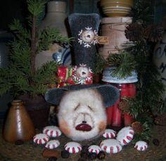 "Primitive Frosty Ornament Snowflake 10"" Snowman Doll ★ Vtg Patti's Ratties Bear"
