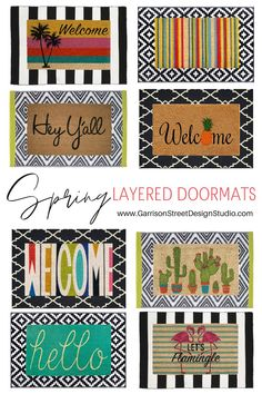On Monday I shared my Spring Front Porch Decor with you which included my favorite trending element, the layered doormat. Front Door Rugs, Front Door Decor, Front Porch, Front Doors, Porch Mat, Spring Door, Welcome Mats, Porch Decorating, Doors