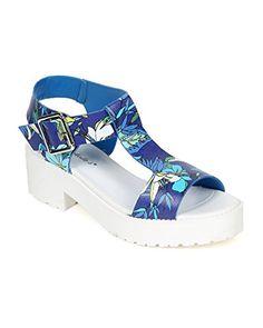 7ef3787b7f15ff Breckelles CE16 Women Floral Peep Toe TStrap Chunky Heel Flatform Sandal  Blue Size 75  gt