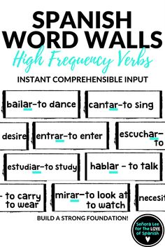 FREE! Reinforce 16 Spanish High Frequency Verbs with these big and bold, black and white bricks. Instant comprehensible input! Great visual resource to practice some of the most used -ar verbs in Spanish.