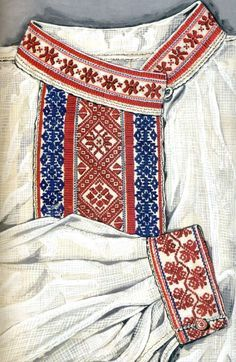 Embroidered shirt from Podlasie, eastern Poland. Drawing by J.Turska, via patternsofeurope.pl.