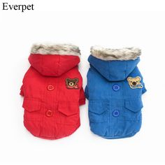 2017 HOT Newest super warm winter dog clothes solid blue red pet dog coat jacket for dogs clothing for puppy dog chihuahua Yorkshire Dog, Dog Winter Coat, Dog Jacket, Small Puppies, Animal Fashion, Dog Fashion, Dog Hoodie, Cotton Pads, Warm Outfits