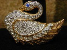 """Rhinestone Swan Brooch Pin Crystal Rhinestones w Blue Rhinestone Eye 2"""" #Unsigned"""
