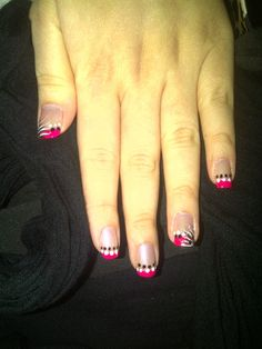Hot Pink French Tip, Dots, and Art