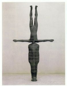 "Antony Gormley [UK] (b 1950) ~ ""PRESENT TIME"", 1988. Lead, fibreglass and plaster (342 x 192 x 35 cm). | #art #sculpture #figurative"