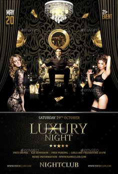 Luxury Night Flyer Template — Photoshop PSD #anniversary #summer • Available here → https://graphicriver.net/item/luxury-night-flyer-template/11651692?ref=pxcr