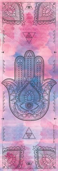 One of our most popular mats! The Hamsa Hand is an ancient Middle Eastern amulet symbolizing the Hand of God. In all faiths it is a protective sign. It brings it's owner happiness, luck, health, and g