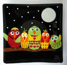 Fused Glass Plate Owl Family by DKglassshop on Etsy, $135.00