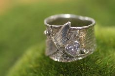 Dragonfly ring in sterling silver wide band with by joannerowan, $109.00