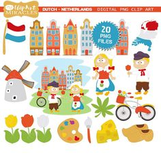 Netherlands Clip Art European travel party by MyPrintableMiracles European Vacation, European Travel, World Thinking Day, Holland Netherlands, Travel Party, Trunk Or Treat, Girl Scouts, First Birthdays, Party Themes