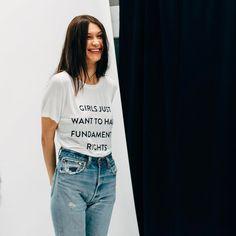 "I love this shirt ahaha but I also love how candid the shot is. bel-hadid: """"Bella Hadid backstage at Prabal Gurung F/W 2017 "" """