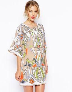 ASOS+Premium+Aztec+Embellished+Tunic+Dress