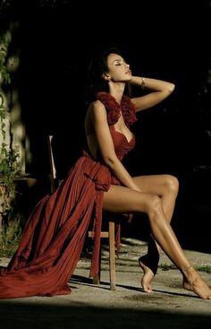maroon colored long flowing dress