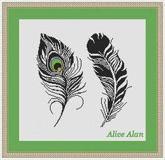 Cross Stitch Pattern Silhouette Peacock Feathers Fantasy Counted Cross Stitch Pattern / Instant Download Epattern PDF File