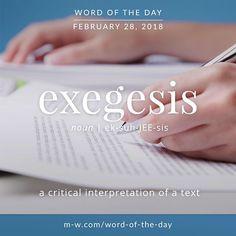 Today's #wordoftheday is 'exegesis' . #language #merriamwebster #dictionary
