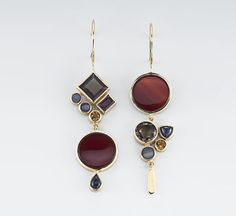 Earrings   Janis Kerman.  18kt yellow gold, carnelian, smokey quartz, boulder opal, citrine, garnet, iolite.