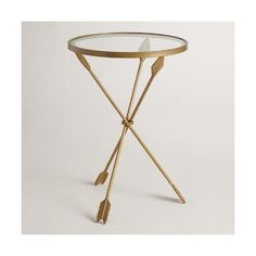 Gold Metal and Glass Arley Accent Table World Market ($90) ❤ liked on Polyvore featuring home, furniture, tables, accent tables, gold glass table, metal glass end table, glass accent table, glass end tables and gold metal accent table