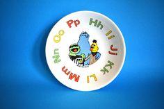 Crown Lynn Sesame Street Children's Bowl - Vintage Retro Muppets Big Bird Ernie Alphabet - Made in New Zealand