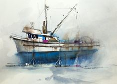 Watercolor transparency is one of the mediums most engaging features. Learn how to take full advantage of it in your paintings. Gold Watercolor, Watercolor Sketch, Watercolor Landscape, Boat Painting, Watercolour Painting, Watercolours, John Lovett, Boat Drawing, Boat Art