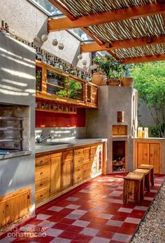 """Excellent """"outdoor kitchen designs layout patio"""" detail is offered on our site. Backyard Kitchen, Outdoor Kitchen Design, Summer Kitchen, Outdoor Rooms, Outdoor Living, Architecture Design, Backyard Pavilion, Deco Design, Future House"""