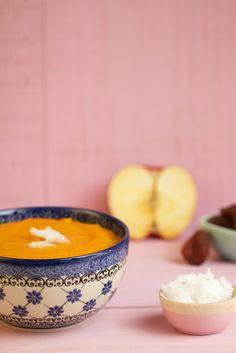 Douce mousseline rayonnante de vie (potimarron, abricot, pomme, huile de coco) cuite à basse température