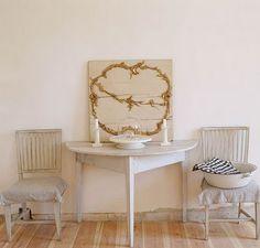 Swedish demi lune table