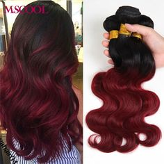 7A Ombre Brazilian Virgin Hair Brazilian Body Wave Red 99j Burgundy Brazilian Hair Weave 3 Bundles Ombre Human Hair Extensions -- To view further for this item, visit the image link.
