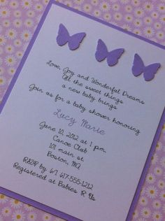 Birthday Invitations : Awesome Birth Announcement Invitations Design - Purple Butterfly Baby Shower Invitations Design
