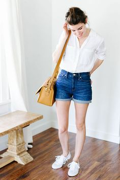 white shirt, cuffed denim shorts, white sneakers, brown shoulder bag - Summer outfits, simple outfits, easy outfits, simple summer outfits, easy summer outfits, minimal outfits, fashion trends 2017, summer fashion trends 2017, casual outfits, white shirt outfits, denim shorts oufits, white sneakers outfits.