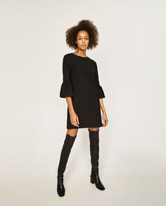 ZARA - WOMAN - DRESS WITH FRILLED SLEEVES 49.90 USD COLOR: Black 7149/051