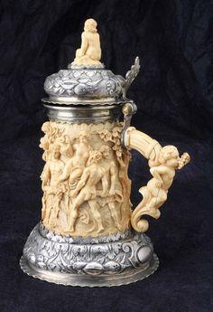 German Silver and Ivory Tankard late c. Vintage Silver, Antique Silver, Aberdeen, German Beer Steins, Beer 101, Beer Mugs, How To Make Beer, Bone Carving, Craft Beer