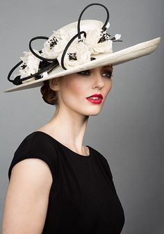 Rachel Trevor Morgan Millinery S/S 2015, R1567, Ivory sinamay sidesweep with straw roses and twist