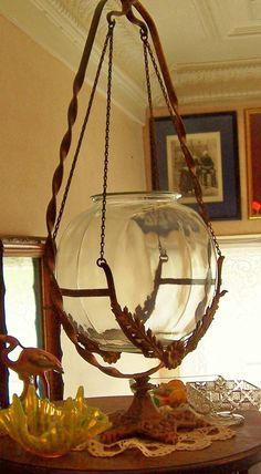 Antique Fish Bowl Stand Twisted Wrought Iron Swinging Bowl