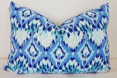 Navy Blue & Pale Blue Ikat Print Lumbar Pillow by HomeLiving
