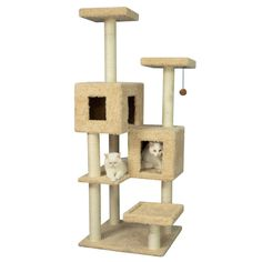 "$169.99 - 10% online  Armarkat Cat Tree | Furniture & Towers | PetSmart Exterior Dimensions: Overall 36""L x 36""W x 67""H Other Dimensions: Base 26""L x 24""W House 20""L x 14""W x 13""H & 14""L x 14""W x 13""H Perch: 14""L x 14""W; Post: 3.5""D"