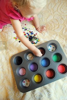 Muffin Tin Color Sorting - I would have been in HEAVEN if I had had this as a child!! :)