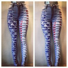 Pretty girls rock boutique ripped up flag waisted jeans online