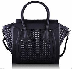 Womens Designer Faux Leather Celebrity Style Studded Smile Tote Handbags Shoulder Bags * Read more reviews of the product by visiting the link on the image.