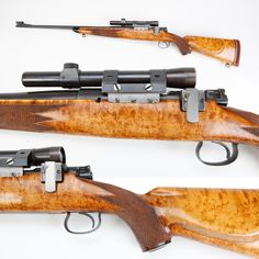 Winchester Model 54 rifle - This Winchester Model 54 sporter has a nice birdseye maple stock that definitely isn't factory configuration, but some lucky shooter wound up with a very good-looking rifle none the less.  This bolt-action model was only offered by the Winchester factory for eleven years (1925-1936) and just over 50 thousand were to be made. On display at the NRA National Firearms Museum in Fairfax, Virginia.