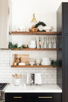 Boston Single Arm Library Light placed over open kitchen shelves. Love the styling on these shelves! Sweet Home, Kitchen Design Open, Open Kitchen Shelving, Kitchen Shelf Decor, Floating Shelves In Kitchen, Open Cabinets In Kitchen, Ikea Kitchen Shelves, Country Kitchen Shelves, Shelving Decor