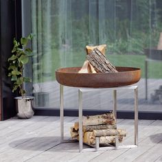 Steel Fire Pit CUBE Contemporary Design Firepit / Outdoor